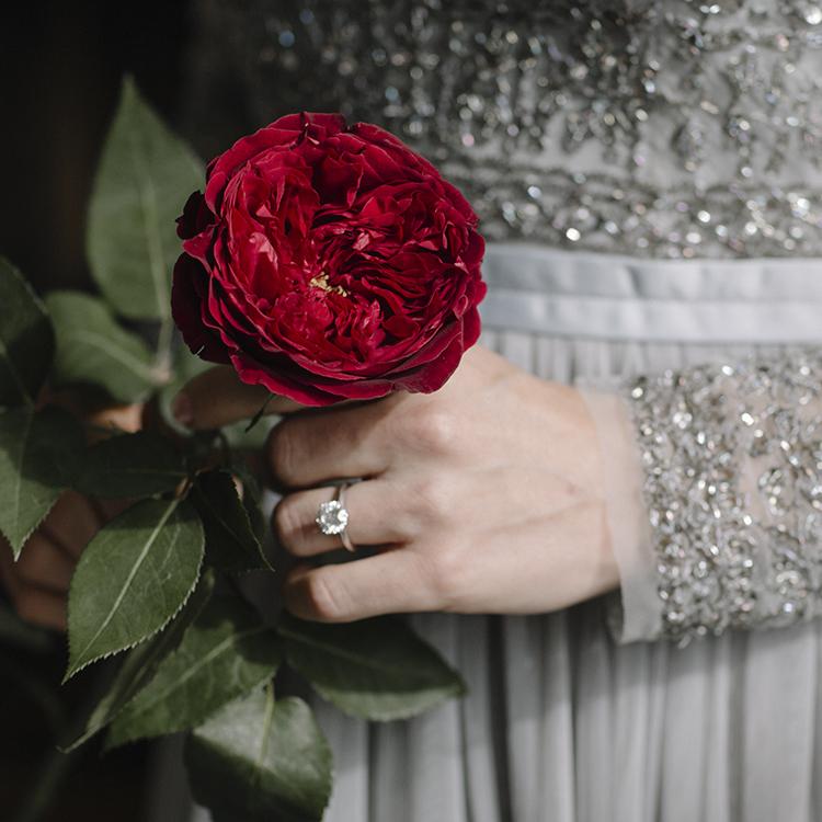 Tess red rose single stem bride