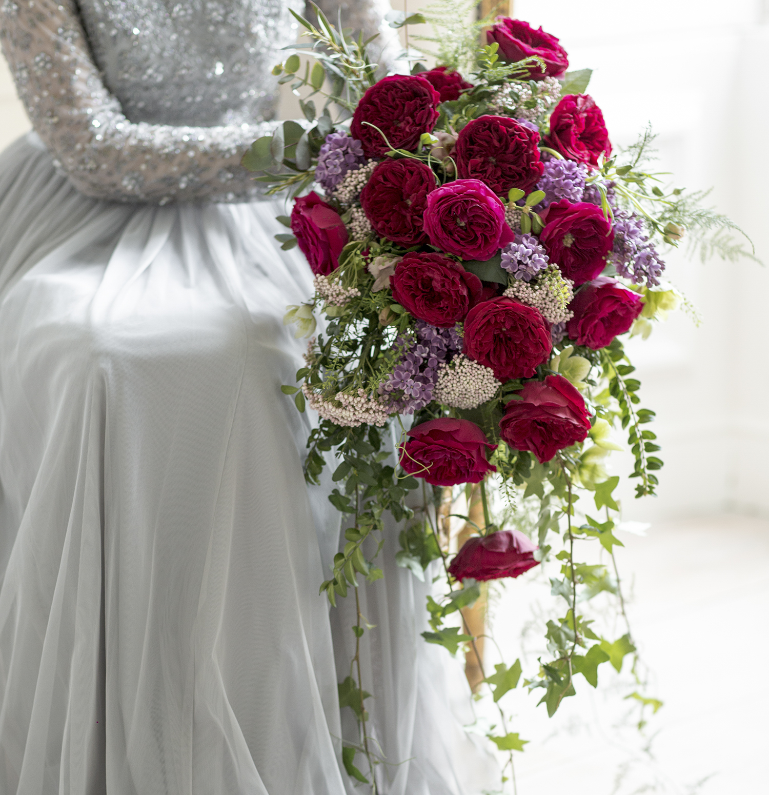 Tess red roses large bridal winter bouquet