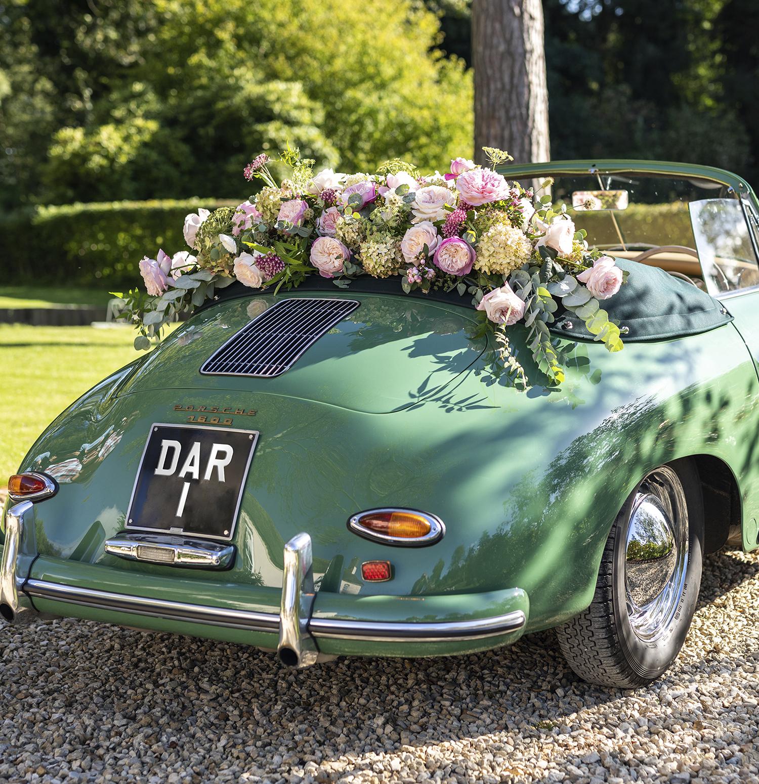Vintage Wedding Car Floral Decorations