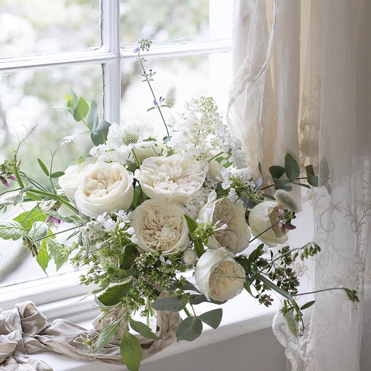 Leonora rose windowsill arrangement