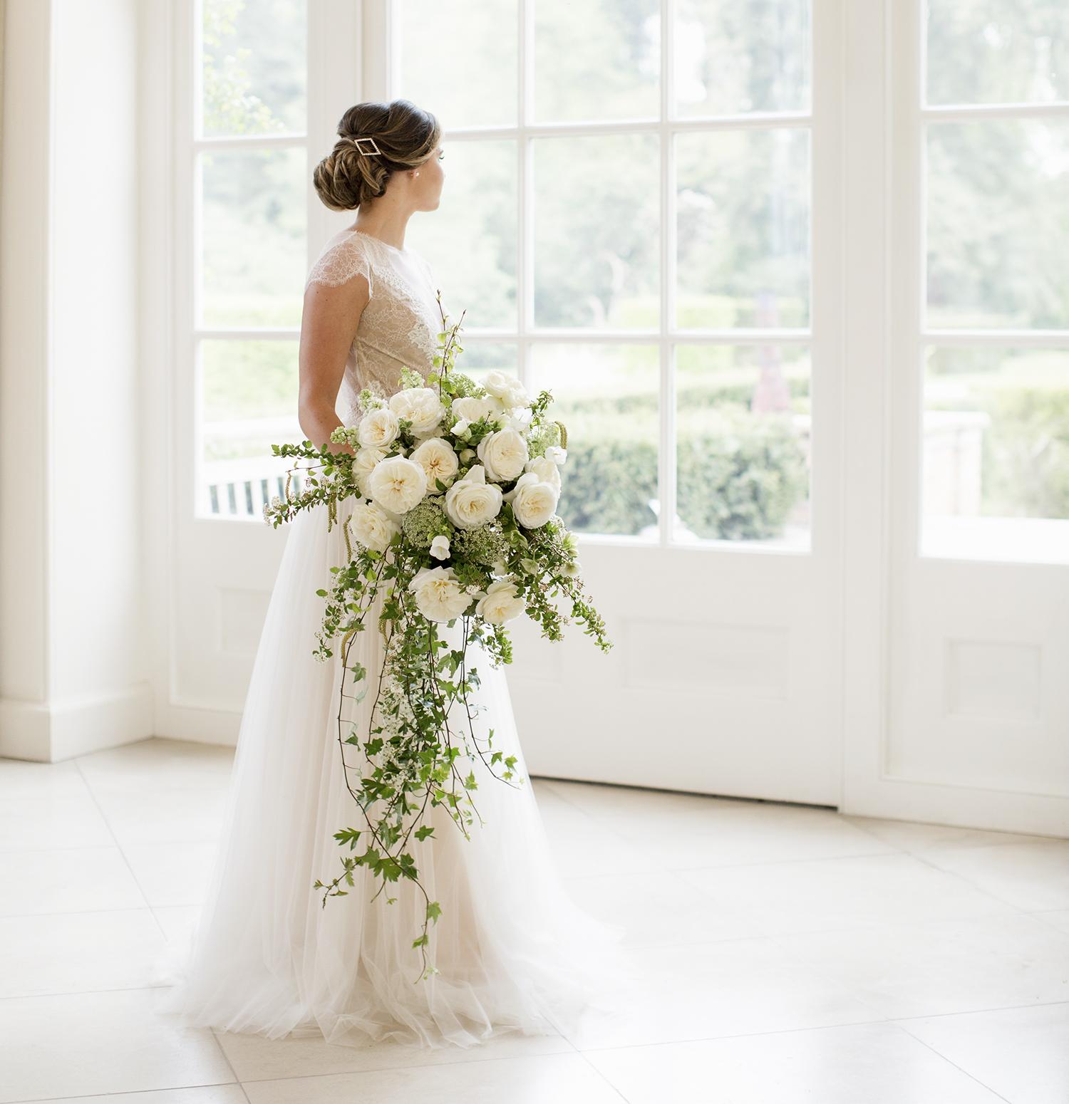 Leonora white roses large bridal bouquet
