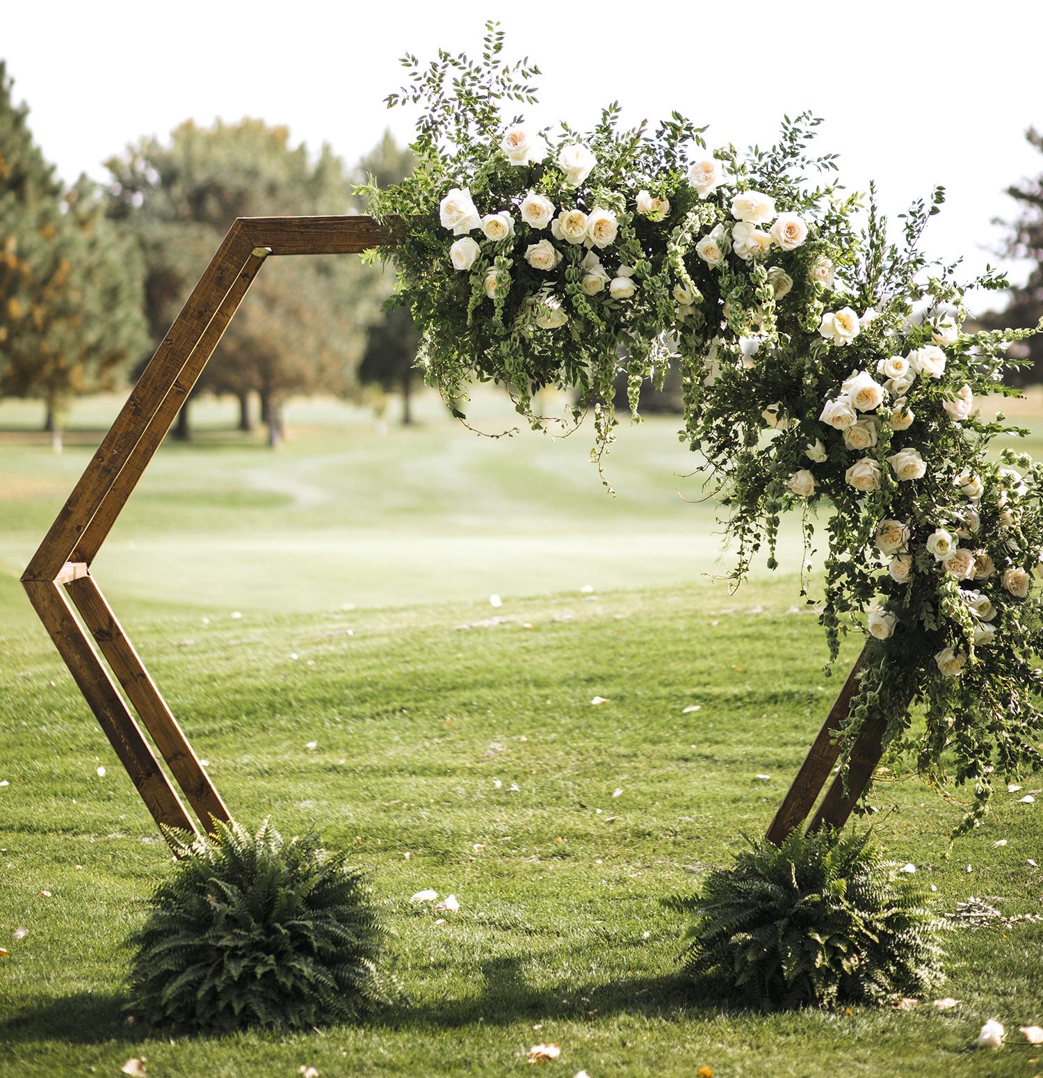 Leonora white roses wedding arch design