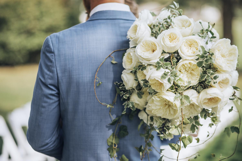 Leonora white roses wedding bouquet design