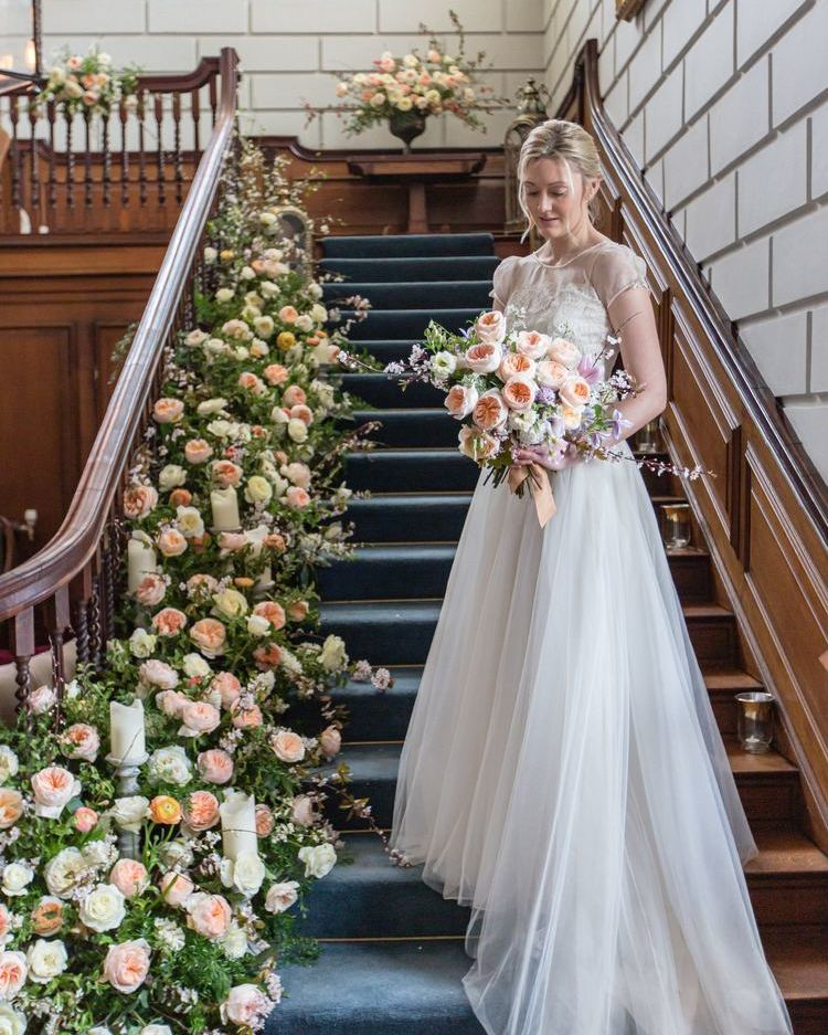 Bride on Staircase Floral Inspiration