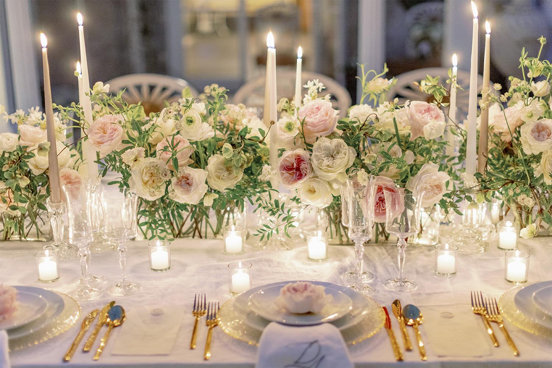 David Austin Wedding roses full table arrangement