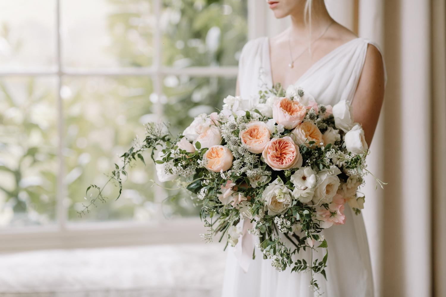 Pynes House Wedding with Bride and Bridal Bouquet