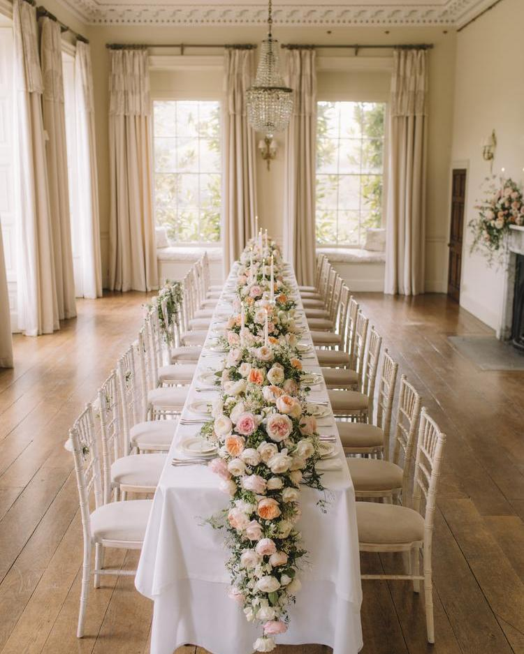 Pynes House Luxury Wedding Reception Table with David Austin Roses
