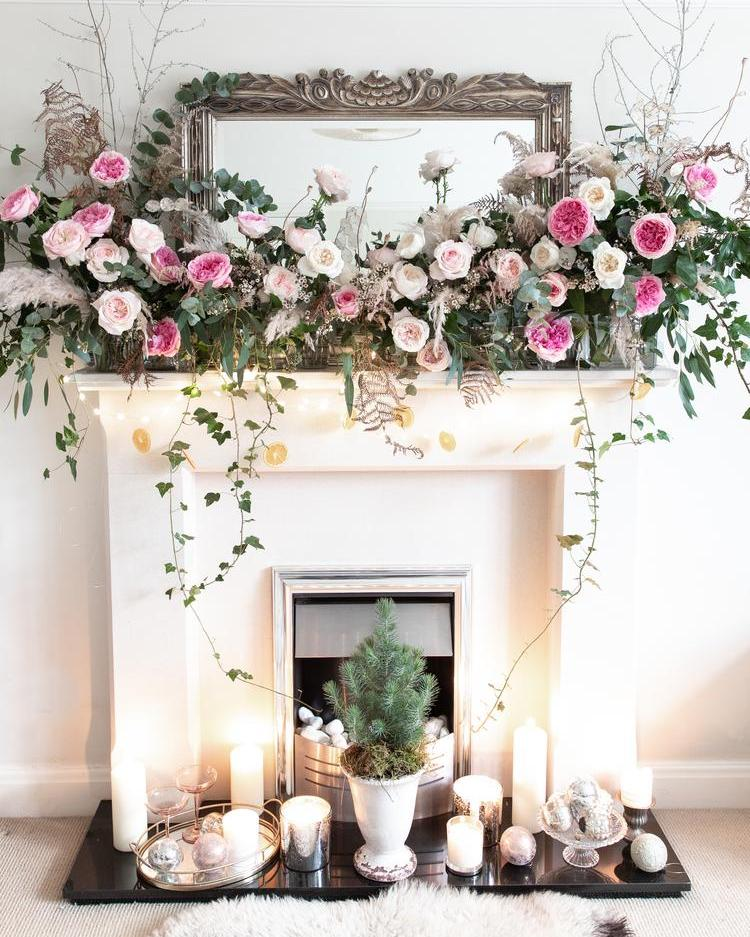 Christmas Fireplace Floral Decorations with Roses