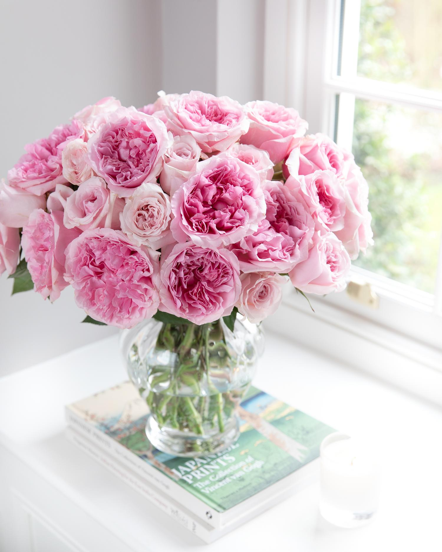 Miranda Pink Roses in Glass Vase Arrangement on Windowsill