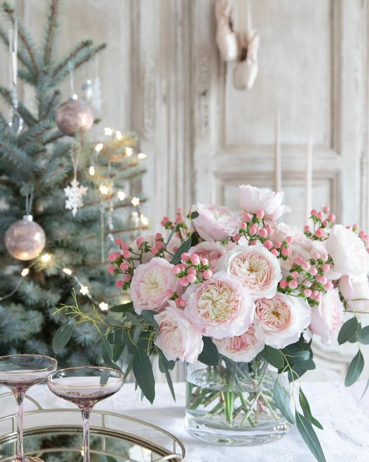Pink Roses Christmas Home Decorations
