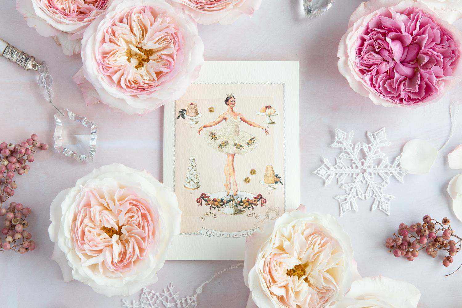 White Christmas Floral Decoration with Roses