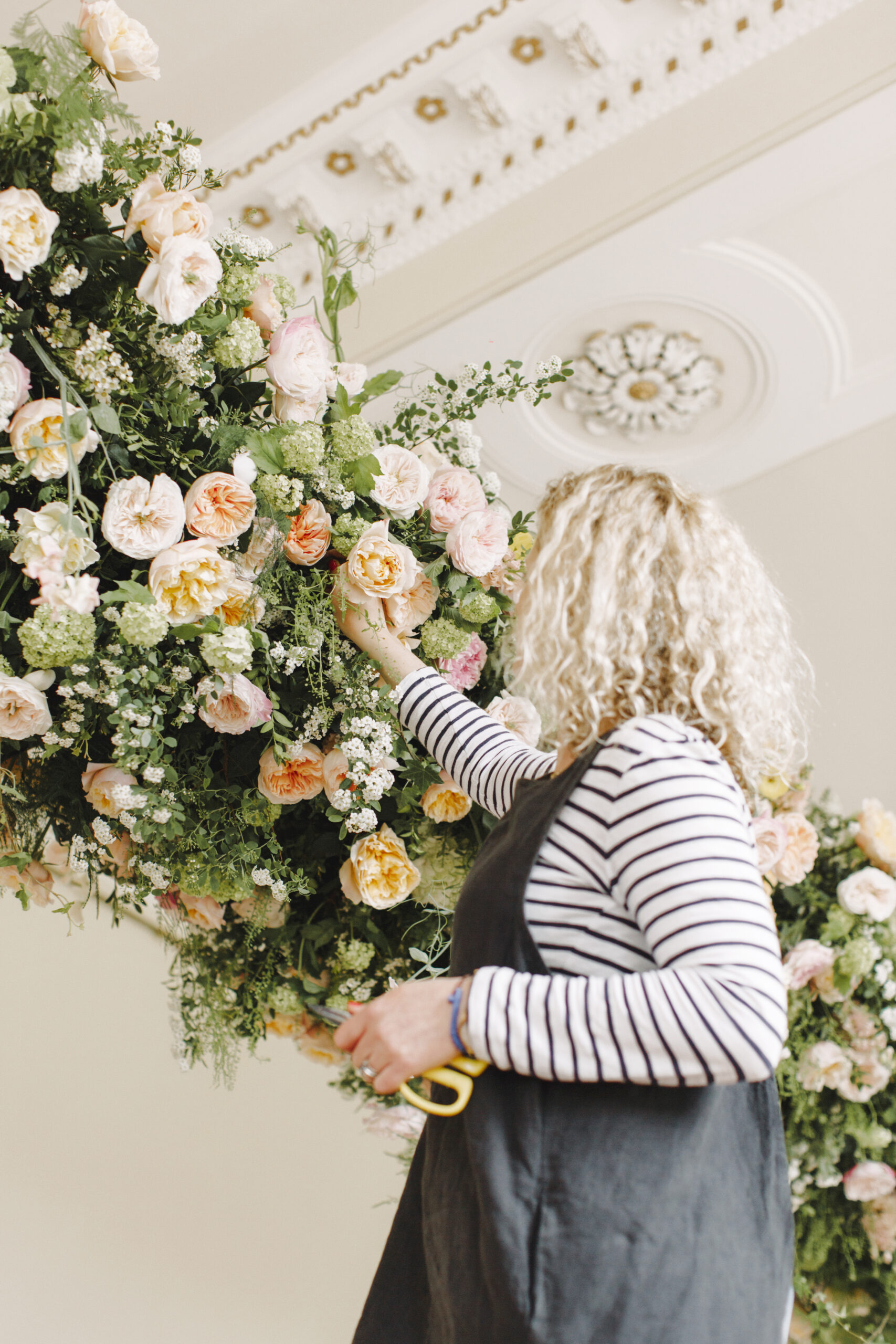 Florist working with David Austin Roses