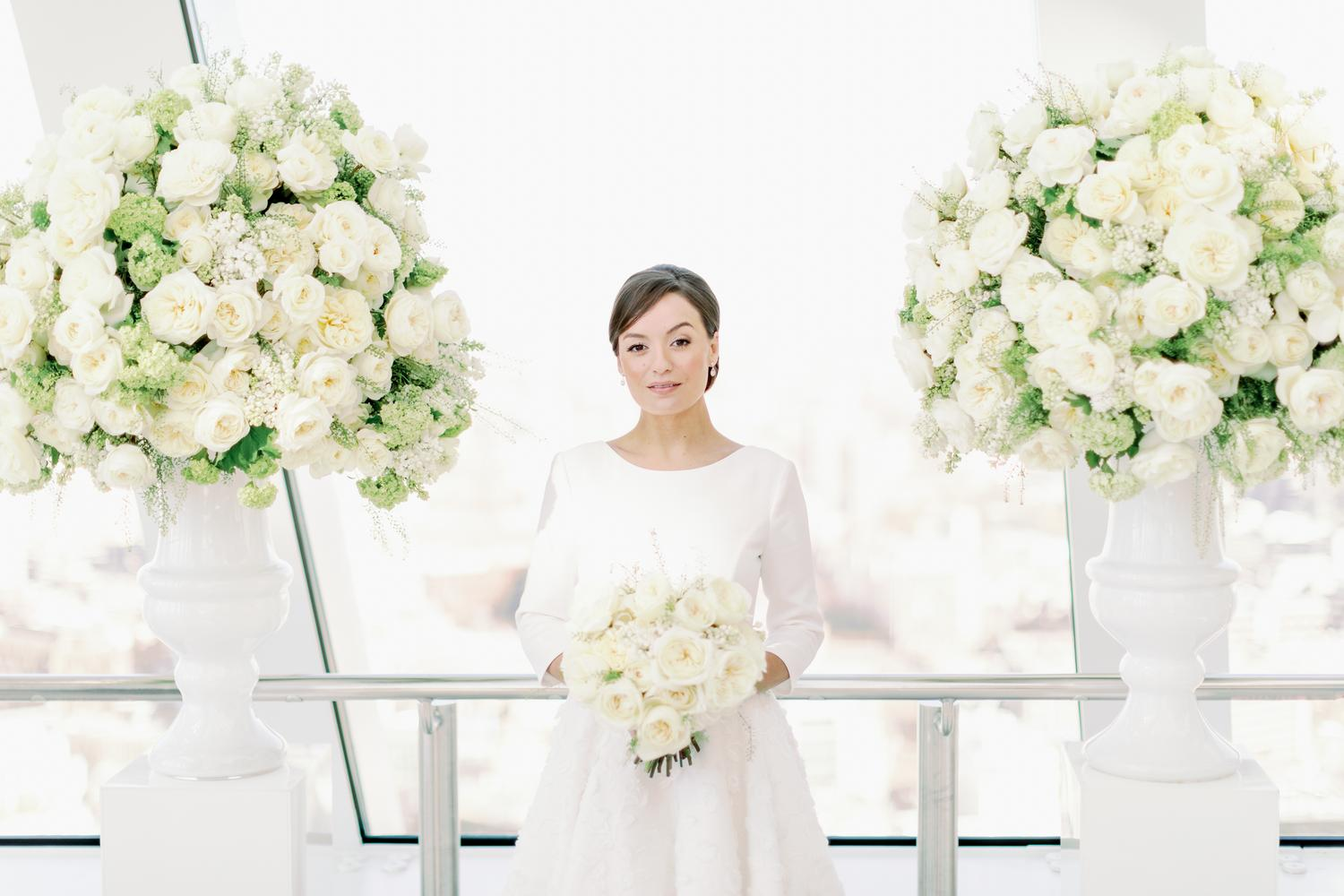 Ivory Wedding Roses Bouquet and Urns