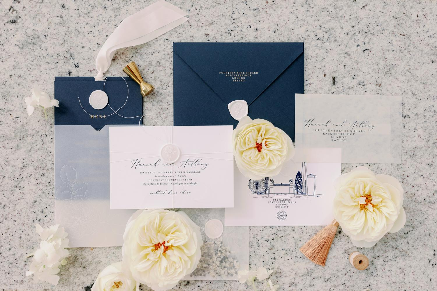 Wedding Stationery Peonies and Paperclips