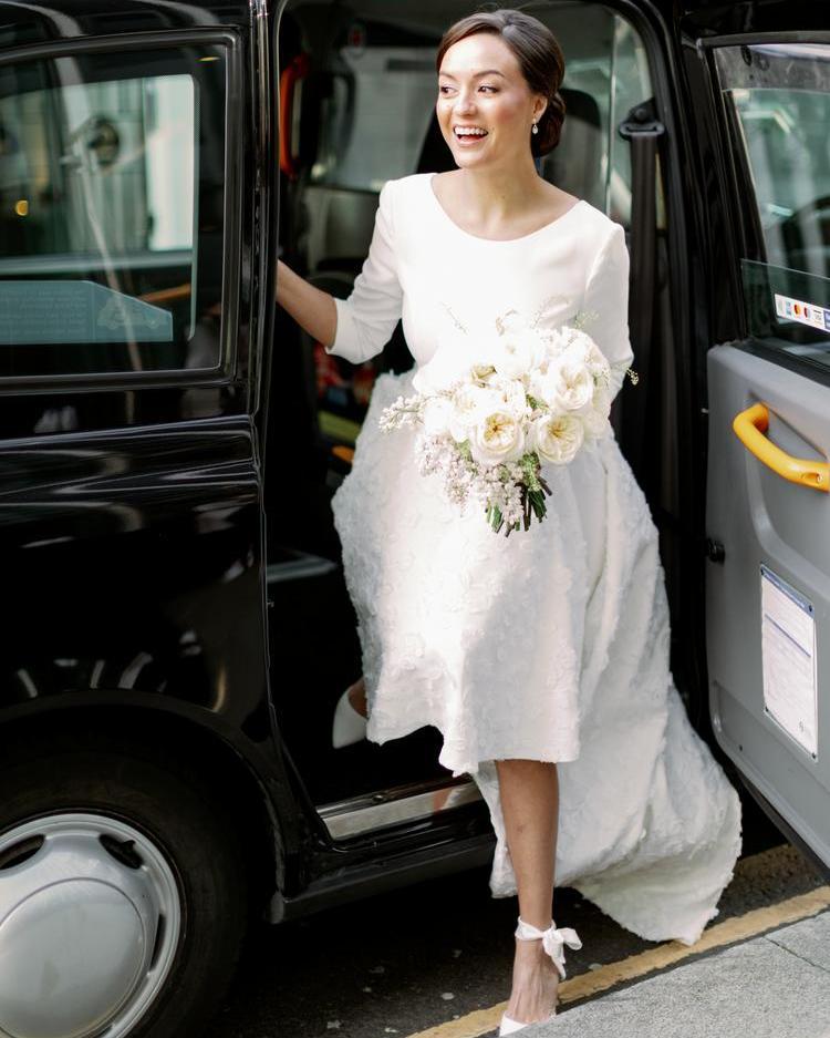 London City Wedding Black Cab Bride