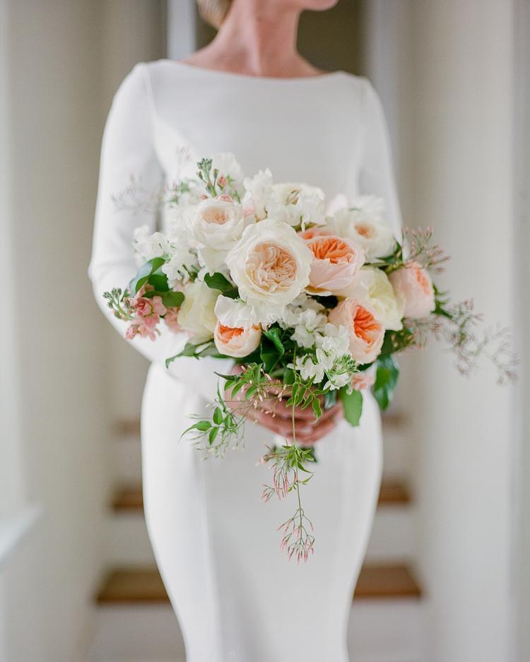 Bride Holding Wedding Bouquet David Austin Roses