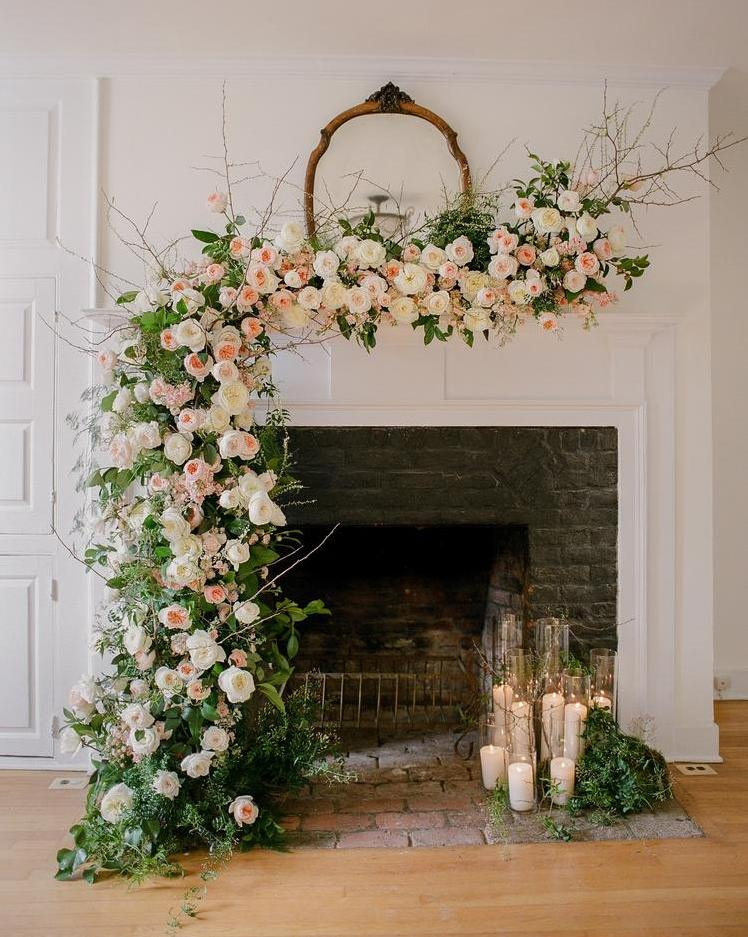 Floral Decorations for Fireplace