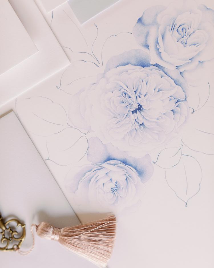 Ilustración de rosa de boda para papelería
