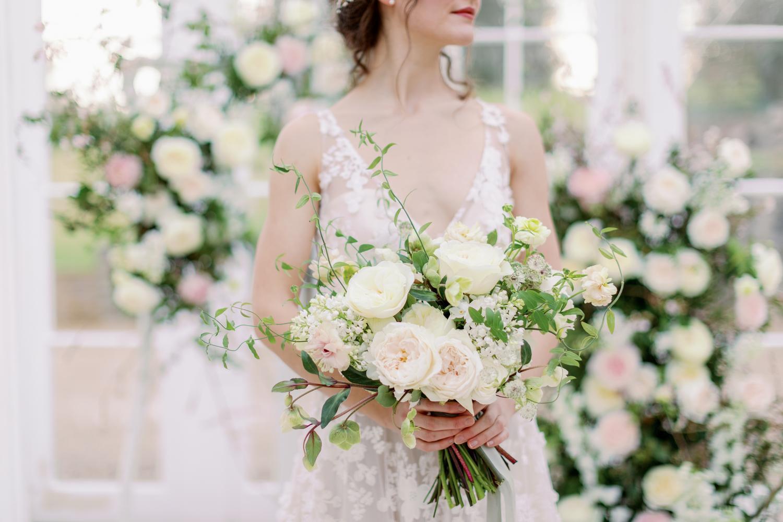 white pink bridal bouquet rose david austin cut roses