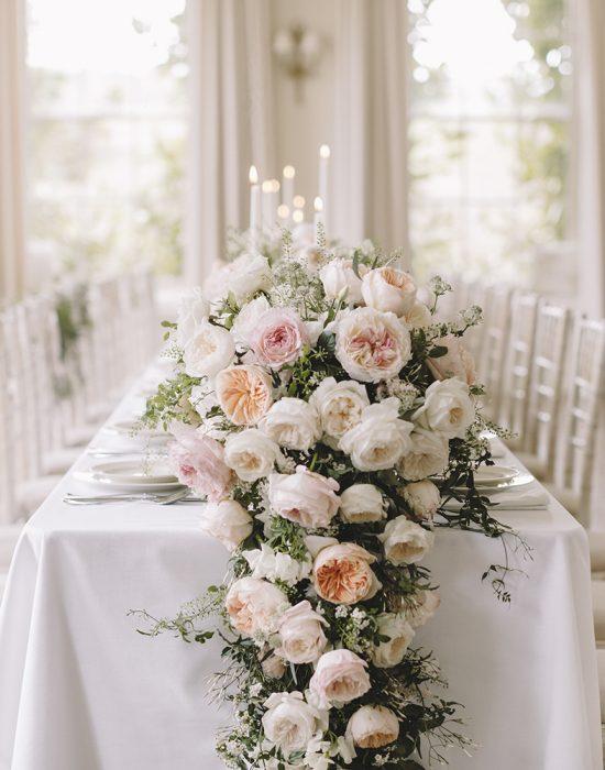 Keira Rose David Austin Cascading Wedding Table Centrepiece